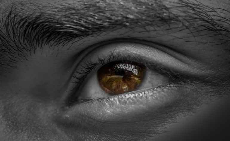 grayscale photography of human left eye
