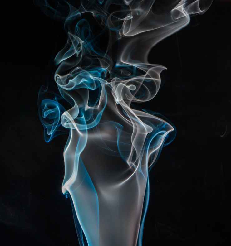 blue and white smoke digital wallpaper