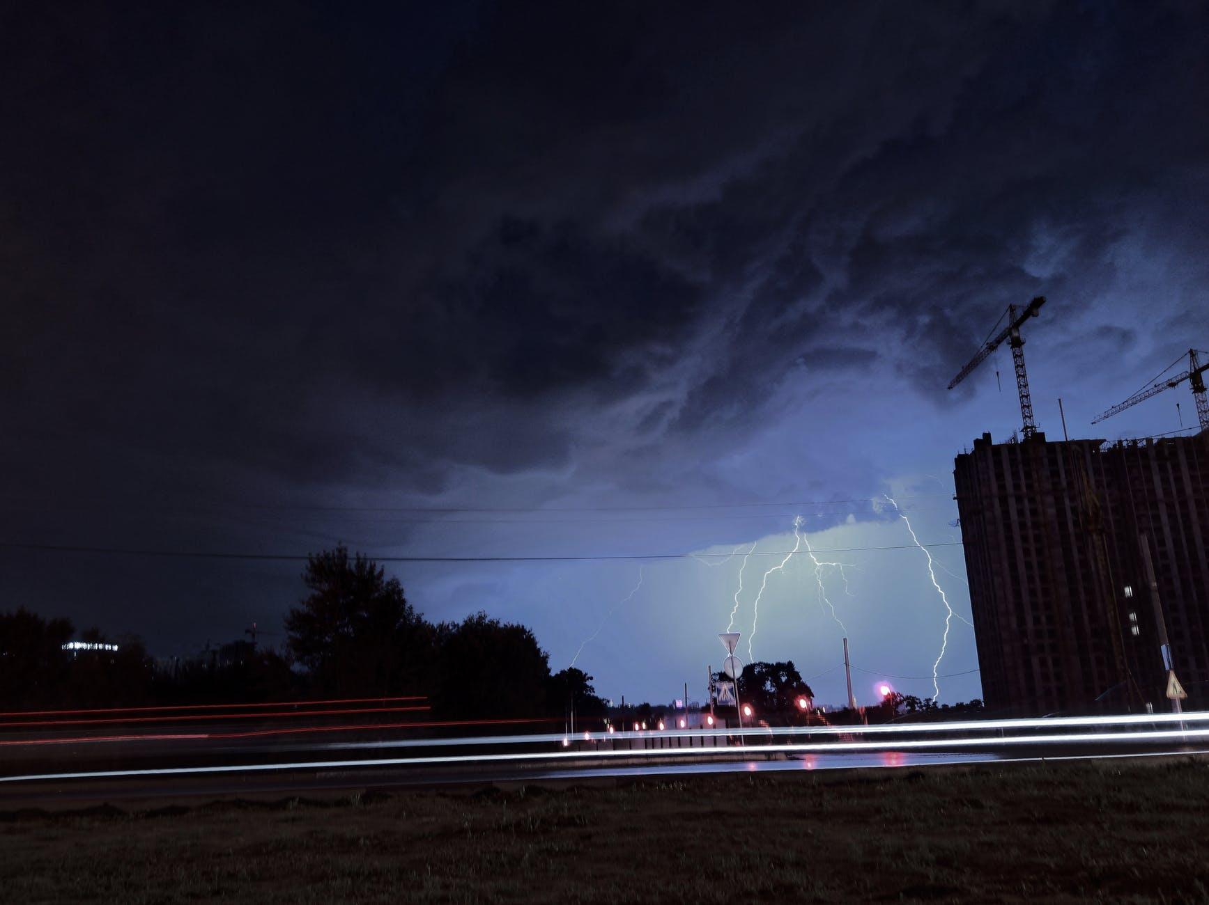 lightning strikes on ground