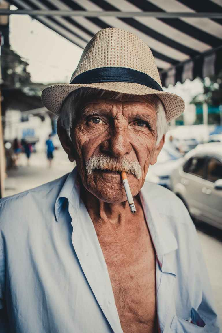 man with cigarette in mouth