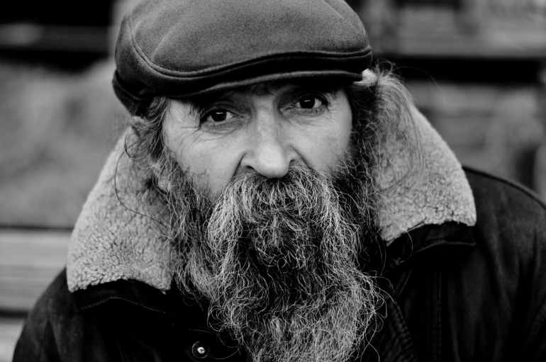 aged beard black and white black and white