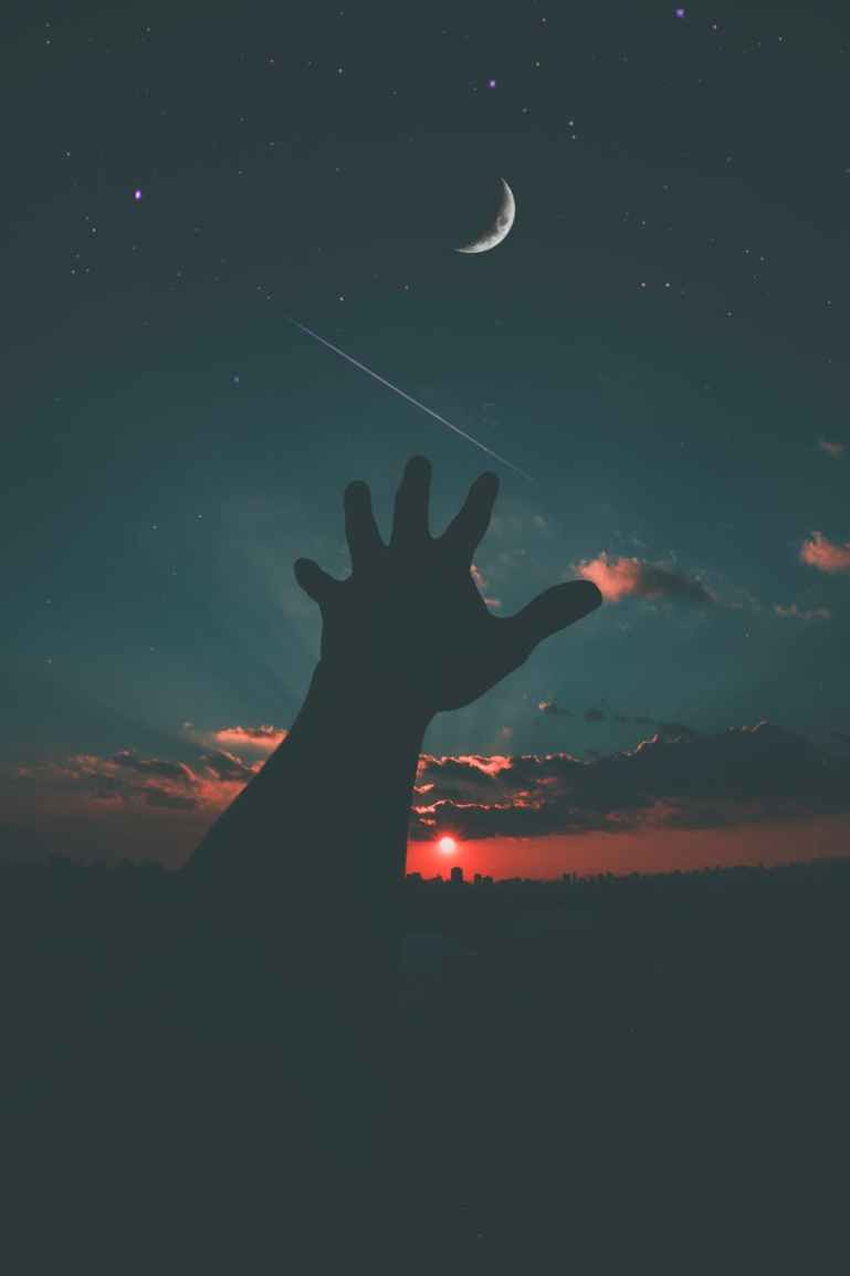 astronomy clouds dusk hands