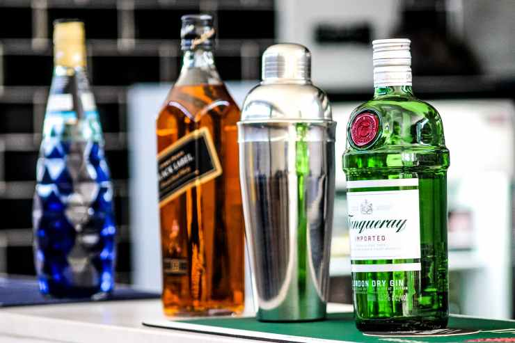 four different alcoholic bottles
